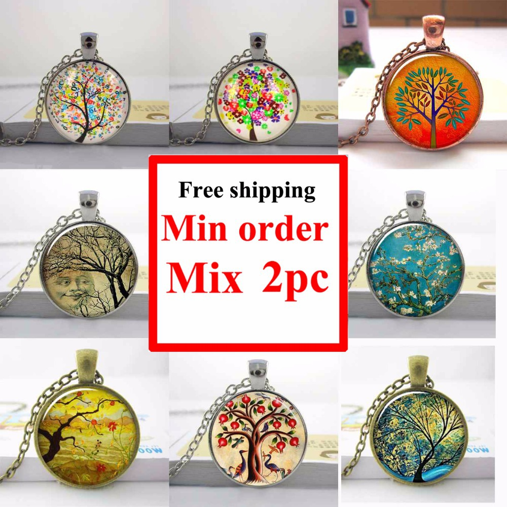 Smiling Moon Tree art pendant Mod Orange charm, Apple Summer Day tree Van Gogh Almond Branch moon necklace moon jewelry HZ1