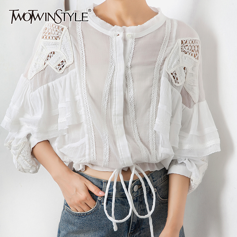 TWOTWINSTYLE Ruffles Patchwork Shirt For Women O Neck Long Sleeve Hollow Out Bowknot Bandages Blouse Female 2020 Summer New