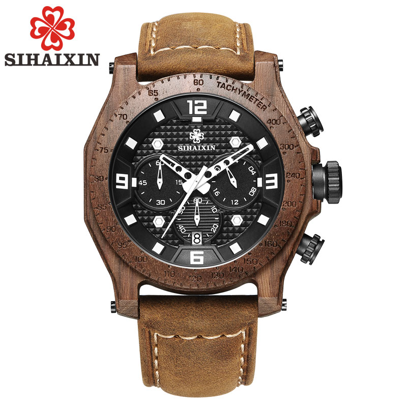 SIHAIXIN Waterproof Watch Men Wood Top Brand Luxury Chronograph Leather Wood Watches Relogio Feminino Wristwatch Clock
