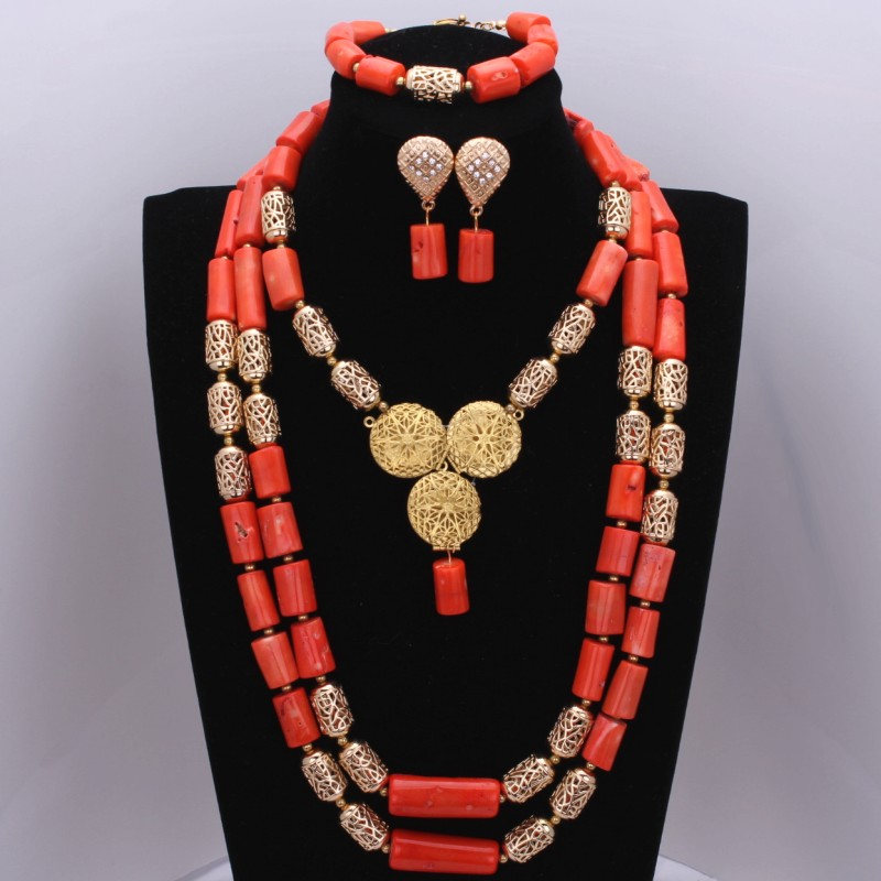 Attractive African Beads Jewelry Set Orange Red Natural Coral Beads Jewelry Set Wedding Jewellery Set For Women Free Shipping