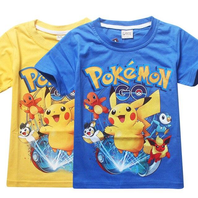 Новый 3-10Y летние детские tee мода Пикачу Покемон Идти стиль мальчики футболки классический Catoon шорты для детей мальчиков