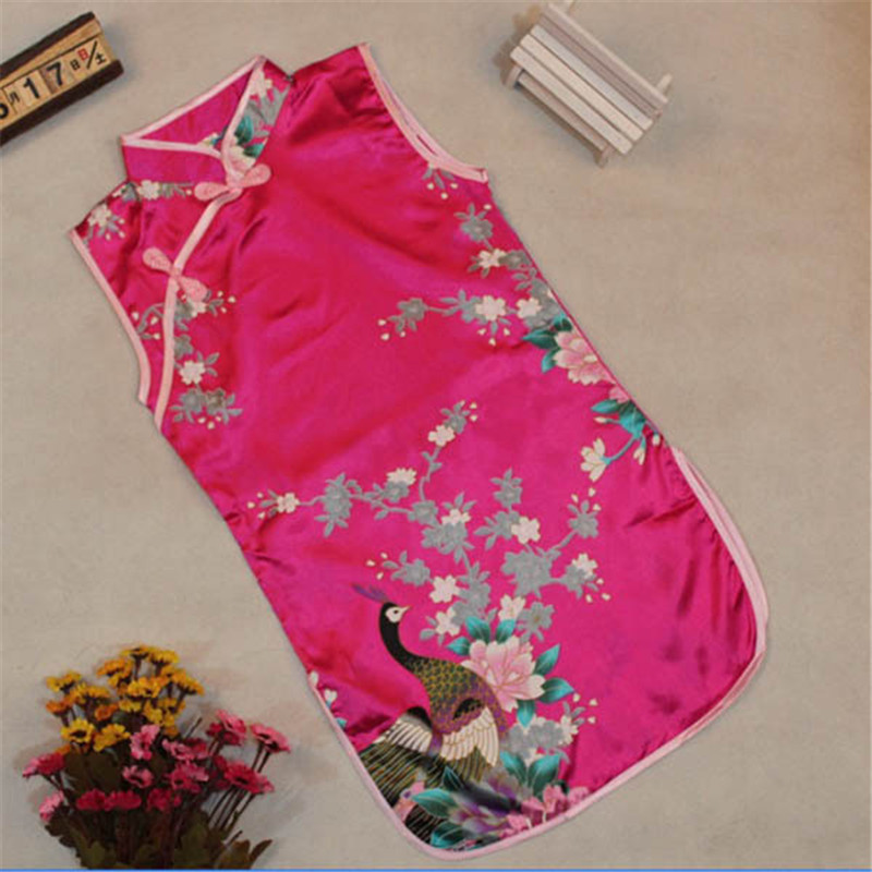 2019 New Baby Girls Chinese Qipao Clothes Classic sleeveless Girl Kid Baby Printed Peacock Floral Cheongsam Dress