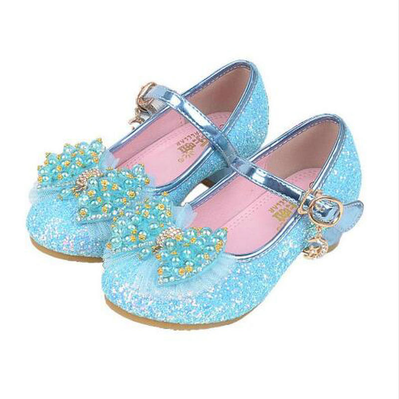 Girls Leather Shoes Children Kids Shoes Mary Jane High Heel Party Princess Bow Knot Glitter Pearl Bling Pink Purple Sandal