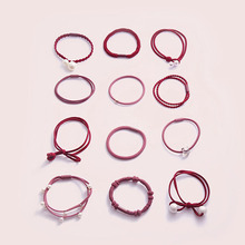 12pcs Girls Hair Band Hairball Pearl Bow Elastic Rubber Bands Hair Ropes Ponytail Holder Tie Gum Hair Girls Hair Ban Accessories