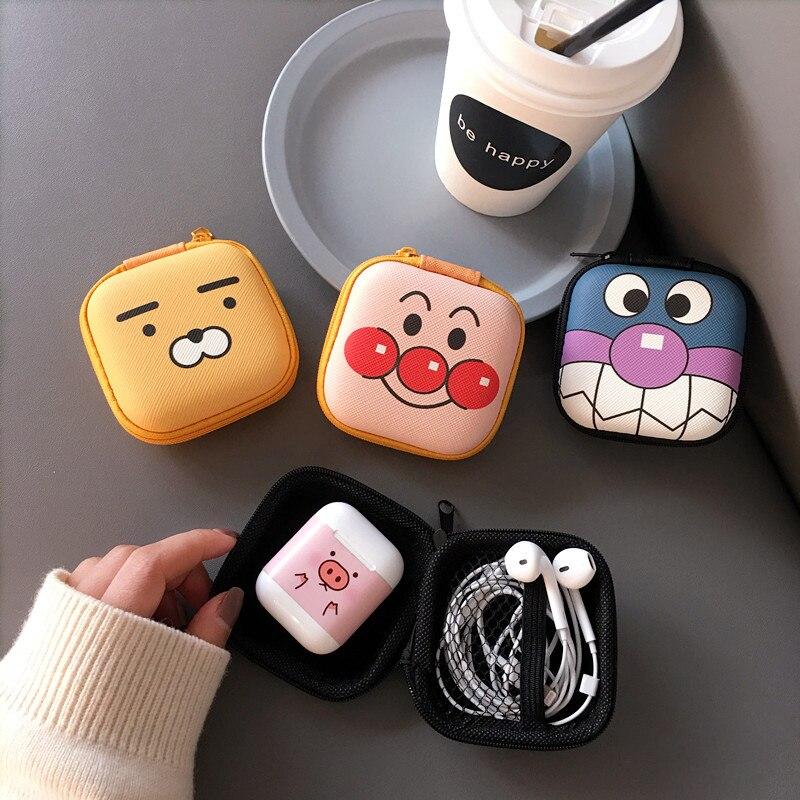 Mini Portable Earphone Bag Cartoon Figure Coin Purse Headphone Case Storage Box