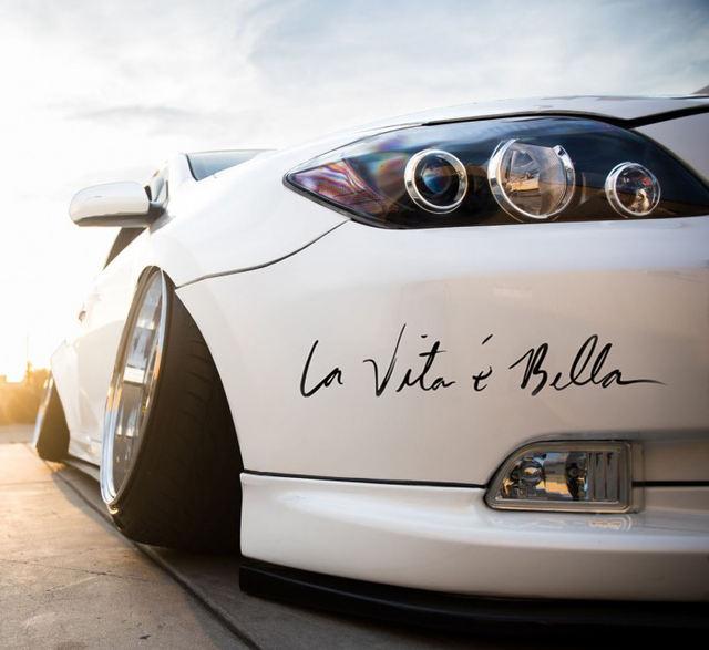 LumiParty La Vita e Bella Reflective Letters Decals Car Stickers Full Body Car Head Styling Sticker non-fading and bright r15