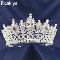 Nankiya Shining Cubic Zinconia Flower Tiaras Crowns New Arrival Wedding Hair Accessories Women Big headbands Diadem Crown NT4428