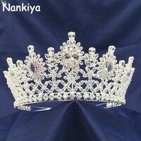 Nankiya Shining Cubic Zinconia Flower Tiaras Crowns New Arrival Wedding Hair Accessories Women Big headbands Diadem Crown BC4428