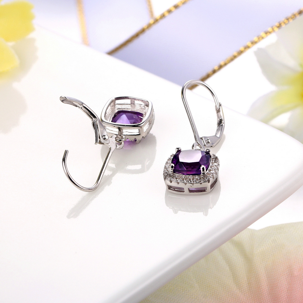 MoBuy MBEI001 Cushion Natrual Gemstone Amethyst Drop/Dangle Earring - Fine Jewelry - Photo 5