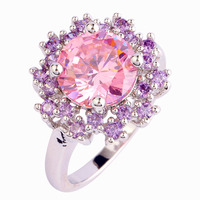Beautiful Unsearchable Gift Flower Design Pink Sapphire Amethyst  Jewelry 925 Silver Ring Size 7 8 9 10 Wholesale Free Shipping