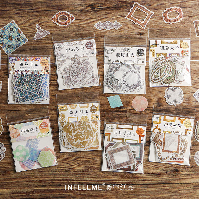 40 Pcs/pack Vintage Romantic Border Decorative Stickers Scrapbooking Stick Label Diary Stationery Album Stickers