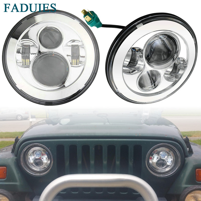 FADUEIS Chrome 7 Round Led Headlight H4 high Low Beam For Jeep JK For Jeep Wrangler 97-15 Hummer Toyota Defender