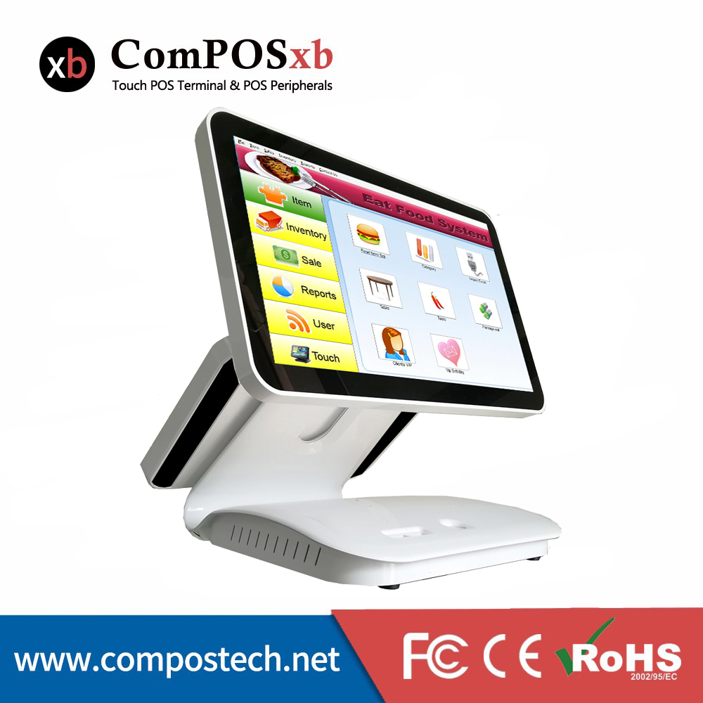 15.6 inch dual screen pos restaurant pos system computer terminal with reasonable price windows 10 edition ...