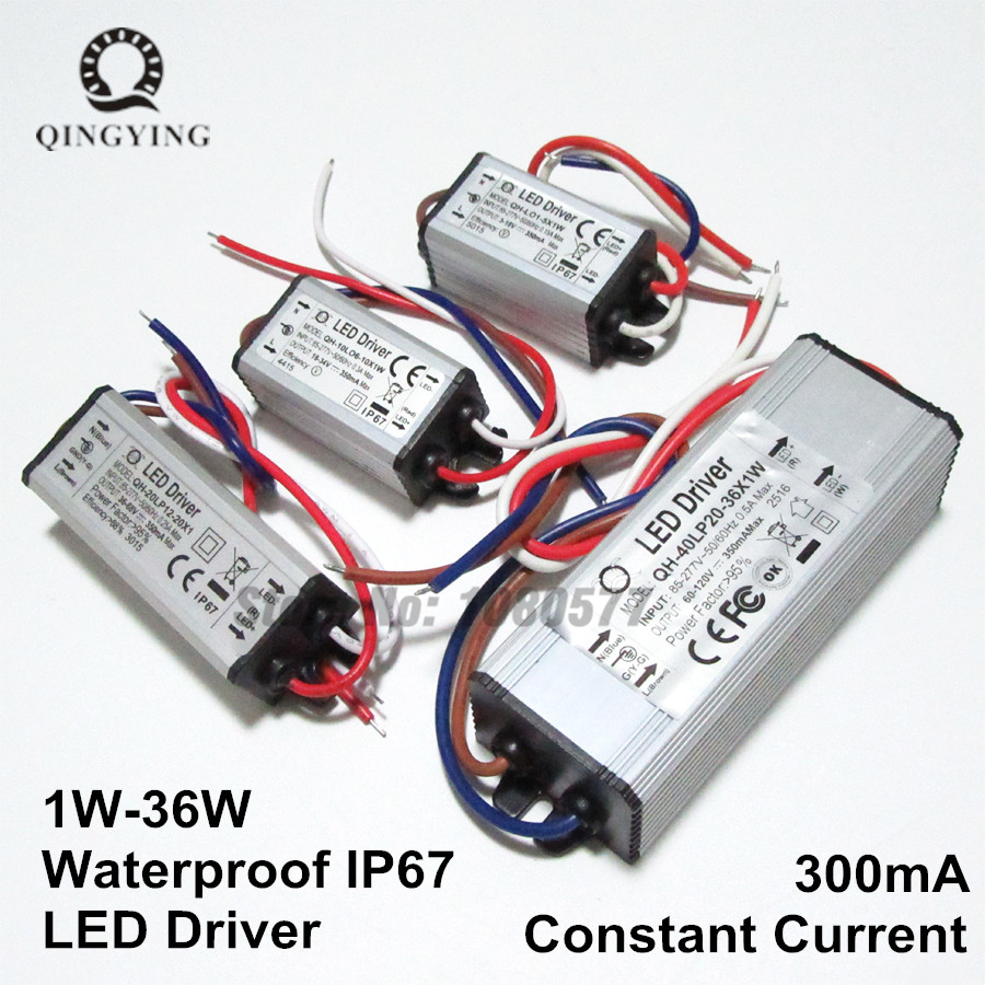 300mA Waterproof LED Driver 1W 5W 10W 20W 30W 36W IP67 Lighting Transformers <font><b>1</b></font> <font><b>5</b></font> <font><b>10</b></font> 20 30 w Watt Outdoor Lights Power Supply image
