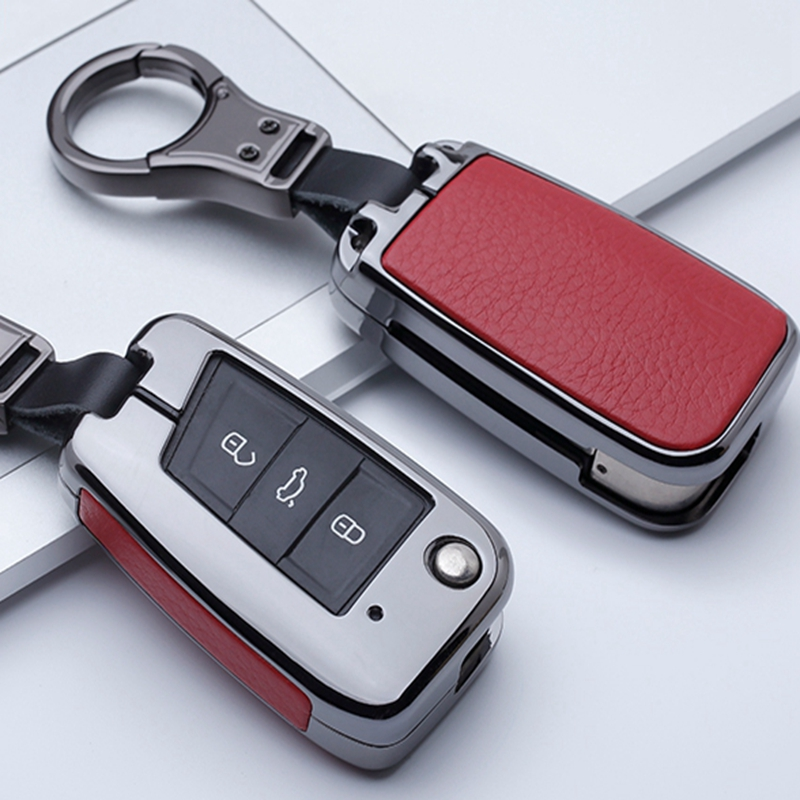 Étui à clés en cuir pour voiture porte-couvercle pour VW Golf 7 Polo Bora MK7 MK6 Passat pour Skoda Octavia A7 Kodiaq siège Leon Ibiza Flip Key