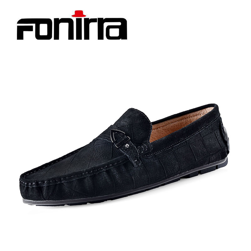 FONIRRA Fashion Mens Slip On Casual Shoes Genuine leather Male Breathable Flat Driving Shoes Soft Moccasins Loafers  752 ceyue handmade leather men shoes casual luxury brand men loafers fashion breathable driving shoes slip on stylish flat moccasins