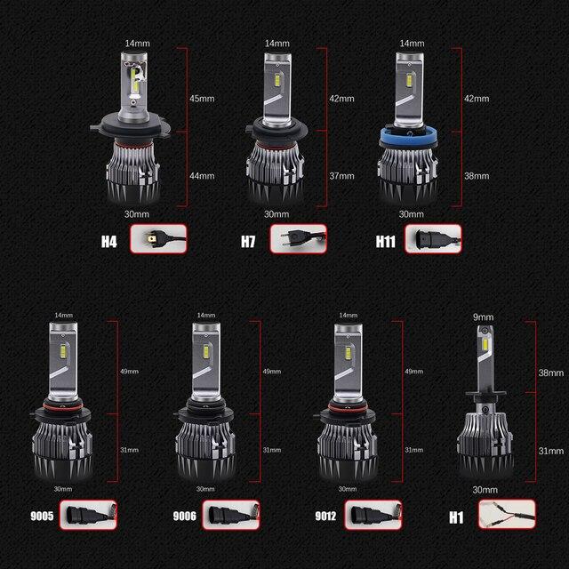 BraveWay-ampoules de phares à puce CSP | H4 H7 H8 H9 H11 9005, pour voiture 12V 9006 HB3 9012 HB4 HIR2 H4 pour moto