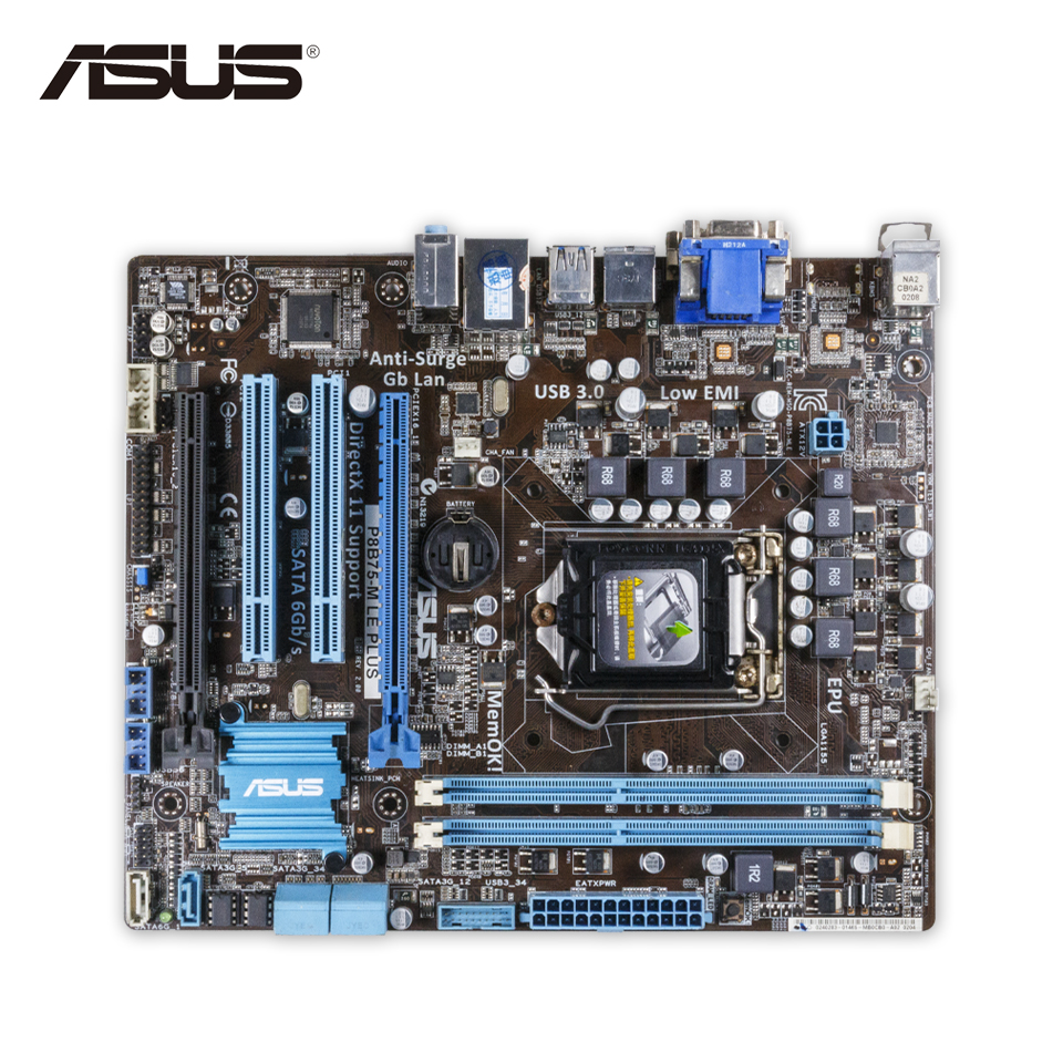 Asus P8B75-M LE PLUS Desktop Motherboard B75 Socket LGA 1155 i3 i5 i7 DDR3 16G SATA3 USB3.0 uATX Second-hand High Quality asus maximus vii ranger desktop motherboard m7r z97 socket lga 1150 i7 i5 i3 ddr3 32g sata3 atx second hand high quality