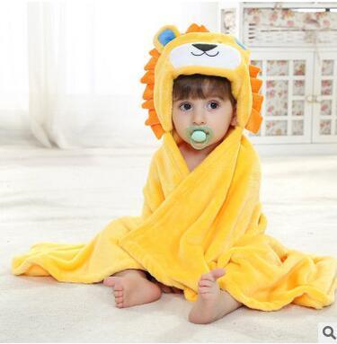 Varejo fralda flanela roupão filho monocamada animais levantou manto tapete crianças banho roupão de