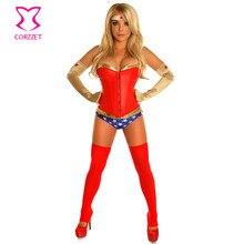319dfb406db Gold PVC Red Leather Party Nightclub Plus Size Sexy Woman Cosplay Costume  Superhero Superwoman Adult Costumes Halloween Feminina