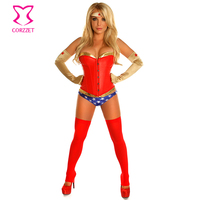 Red Leather Gold PVC Haloween Carnival Adult Costumes Superhero Superwoman Sexy Costume Women Cosplay Uniform Lingerie