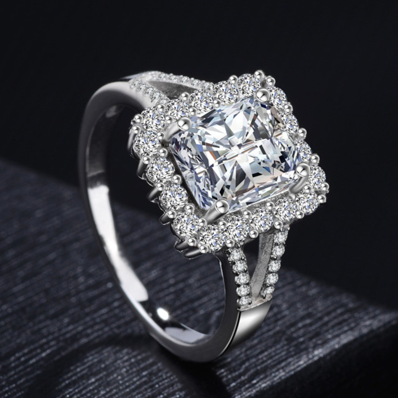 womens large cubic zircon ring sterling silver 10mm main stone wedding rings for women silver jewelry - Large Wedding Rings