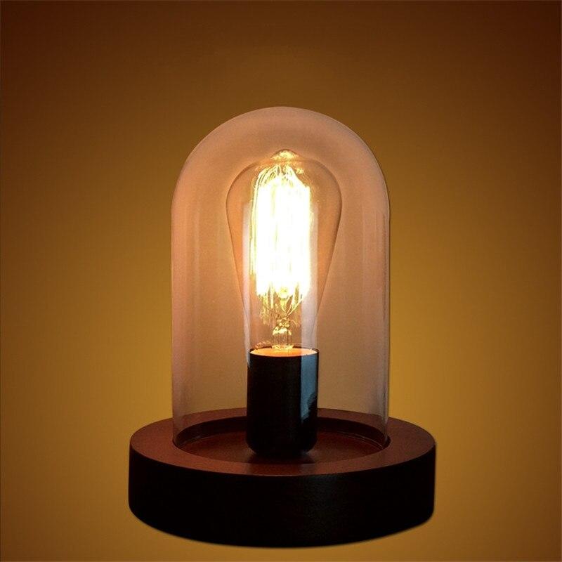 Retro Solid wood Glass Desk lamp E27 AC90 260V European bedroom bedside simple fashion creative decoration Desk light
