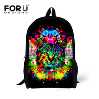Casual Children 3D Animals School Bags Kids Canvas Schoolbag For Boys Girls Cat Lion Print Student Bookbag Women Travel Mochila