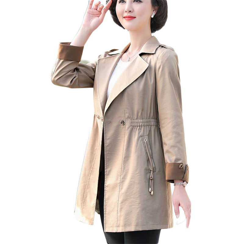 2019 Spring Autumn Women's Middle-Aged Mother Long Outwear Women Loose Windbreaker Fashion Solid   Trench   Coat Plus Size 5XL M218