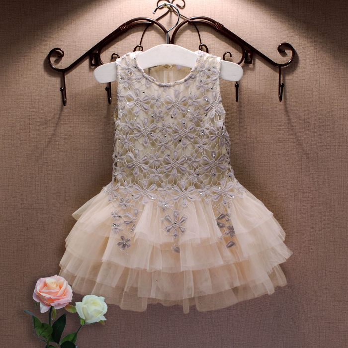 2018 Summer New Lace Vest Girl Dress Baby Girl Princess Dress 3-7 Age Children Clothes Kids Party Costume Ball Gown Beige 2017 new summer children girl long sleeve lace dress kids clothes cotton child party princess tank girl dress sundress age 2 10y