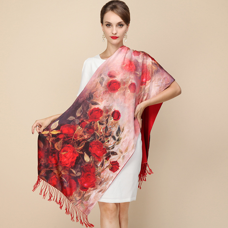 women long 100% Silk scarf double layer brushed thick winter autumn scarf shawl