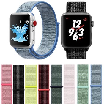 Classic Sport Nylon Loop Strap for Apple Watch Band 38mm 42mm Woven Fabric Adjustable Closure Soft Silicone Replacment Straps цвета apple watch 4