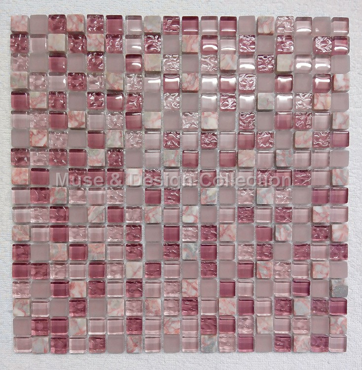 Agate Red Marble Lavender Purple Pink Crystal Glass Mosaic Tile For