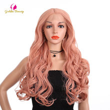 Golden Beauty 26inch Long Body Wave Wig Synthetic Hair Lace Front Wigs Middle Part Pink Wig for American Women Cosplay(China)