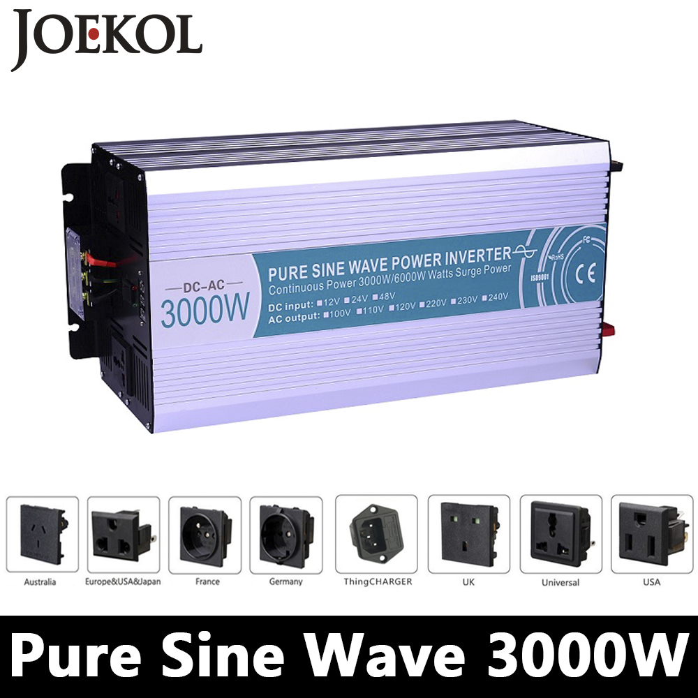 3000W Pure Sine Wave Inverter,DC 12V/24V/48V To AC 110V/220V,off Grid Solar Power Inverter,voltage converter Work with Battery digital display 7000w peak 3500w power inverter pure sine wave dc 12v to ac 220v solar wind car gas power generation converter