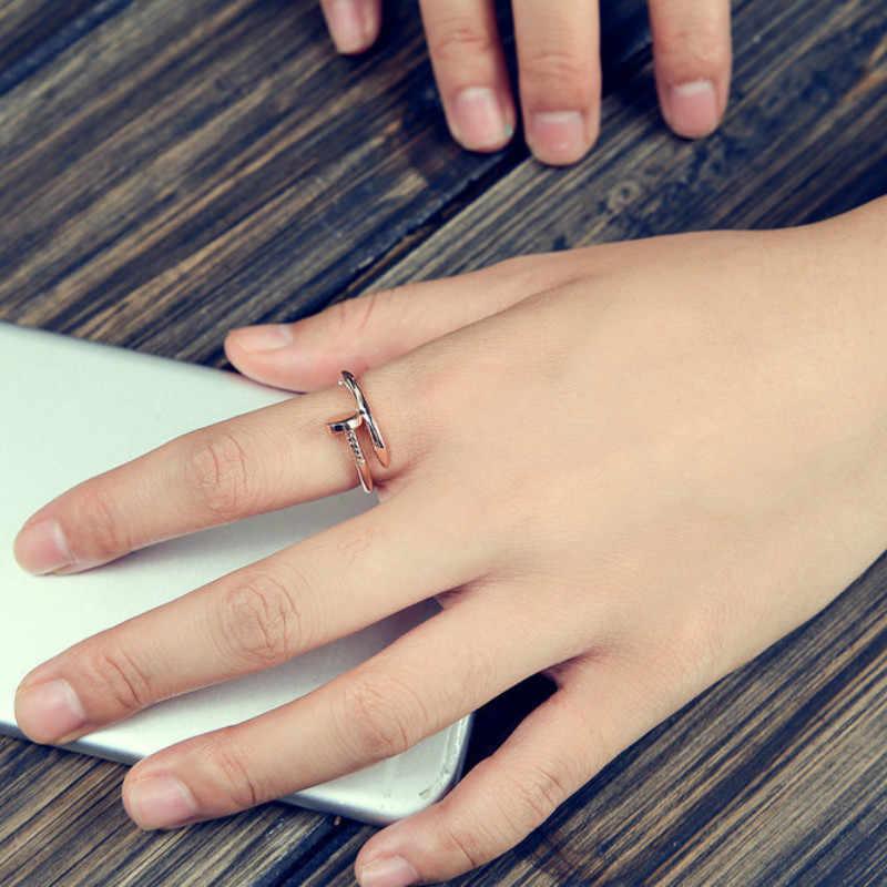 เล็บออกแบบสร้างสรรค์ผู้หญิงผู้ชายสแตนเลสสตีลเงินสร้อยข้อมือกำไลข้อมือกำไลข้อมือแหวน Punk คู่รักสร้อยข้อมือ Pulseras
