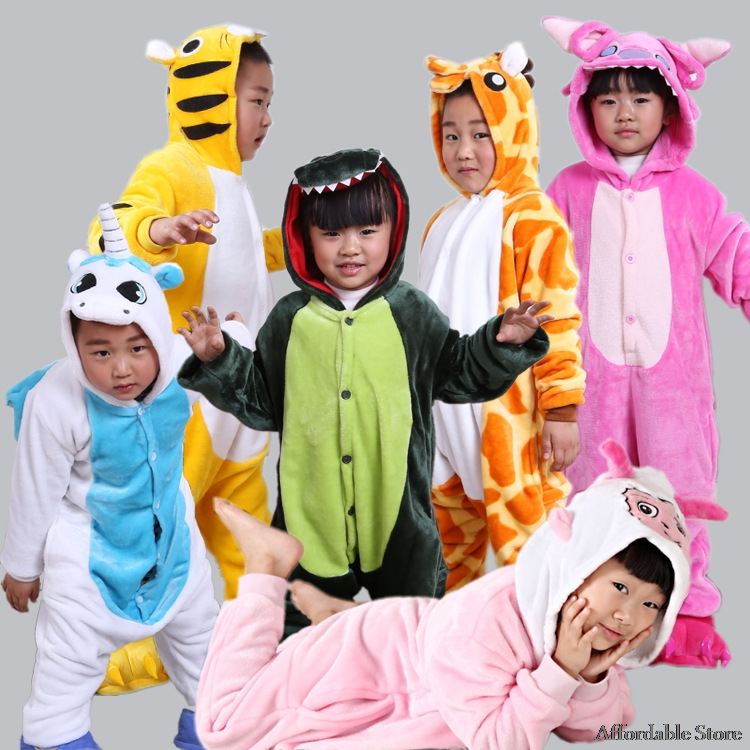 cartoon animal piece pajamas toilet version of children's clothing boys and girls home wear flannel pajamas wholesale