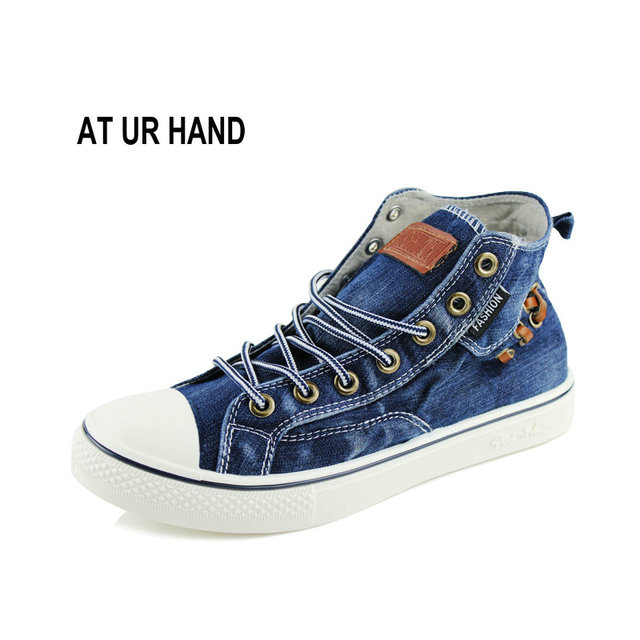 ef690c947ea4 New Fashion Women High Top Canvas sneakers Shoes Big size 35-44 Women s  Denim Ankle Lace Up Ladies Ankle Canvas Shoes