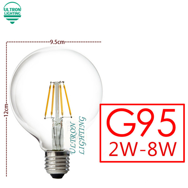 Led Edison Bulb G95 Big light bulb 2W 4W 6W 8W led bulb E27 clear glass indoor lighting lamp AC220V 230V Led Filament Bulb