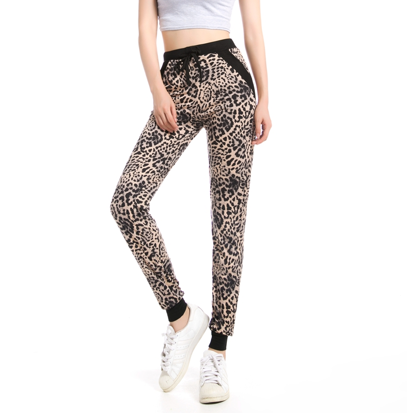 Elastic Waist Female Pencil Pants Girls Leopard Pant Jogger Drawstring With Pocket Casual Printed Women Summer Pants 2019