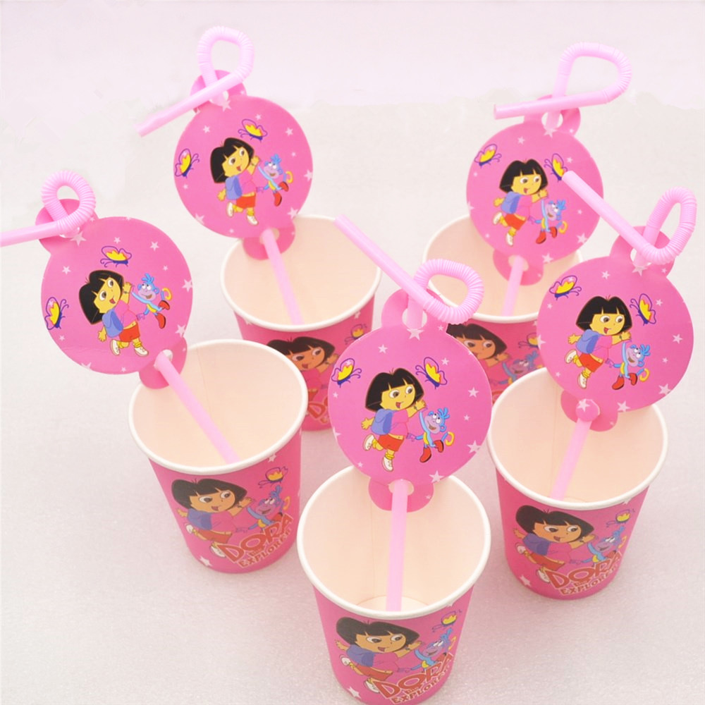 20pcsset Dora Party Supplies Straw Paper Cup Cartoon Birthday Party