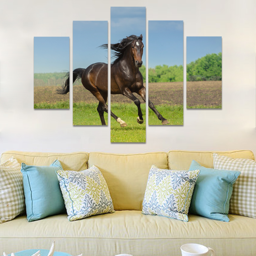 Unframed Canvas Animal Painting Blue Sky Meadow Horse Prints Wall Picture For Living Room Wall Art Decoration Dropshipping