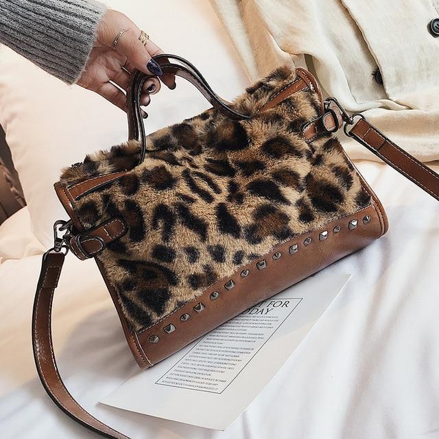 Fashion Famous Designer Brand Women Fake Animal Fur Handbags Leopard  Handbag Shoulder Bag Large Capacity Tote 23a07e1d9f8ed