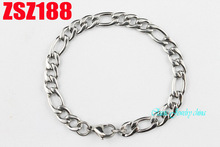 8mm Figaro chain stainless steel brace lace fashion bracelet 3:1 NK women's fashion Jewelry 20pcs ZSZ188