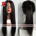 Silky Straight Synthetic Lace Front Wig Natural Black Ponytail Wig Heat Resistant Synthetic Wigs For Black Women