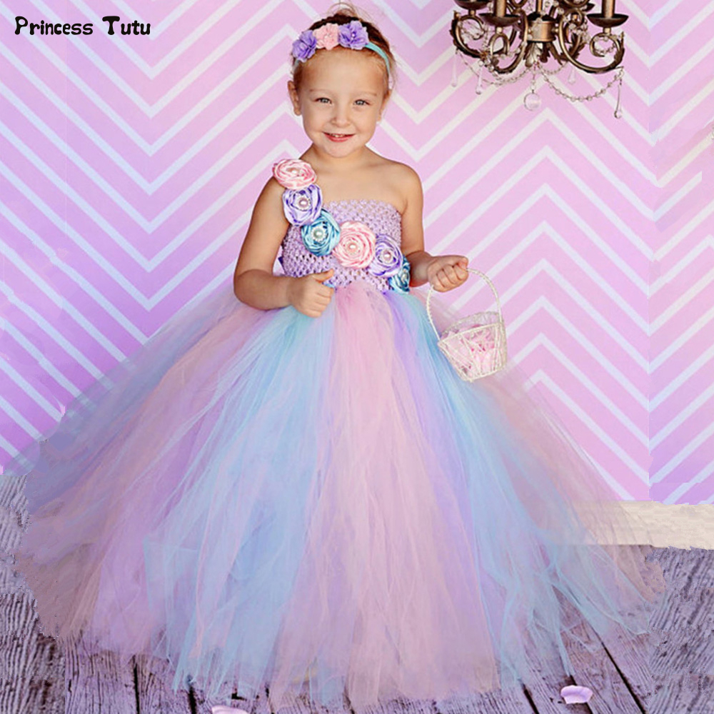 Elegant Princess Girls Tutu Dress Cute Flower Girl Dresses Tulle Kids Ball Gowns For Children Girls Party Pageant Wedding Dress princess tutu dress girls tulle flower girl dresses kids party pageant wedding dress cute ball gowns for children robe enfant