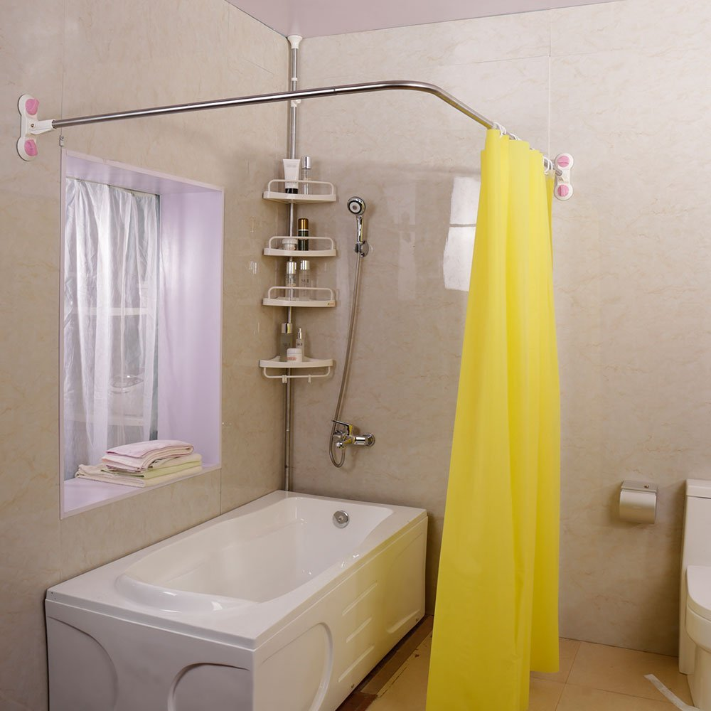 L-Shaped Shower Curtain Rod Suction Cups Corner Bathroom Curtain Rail Bar Expandable 40.15