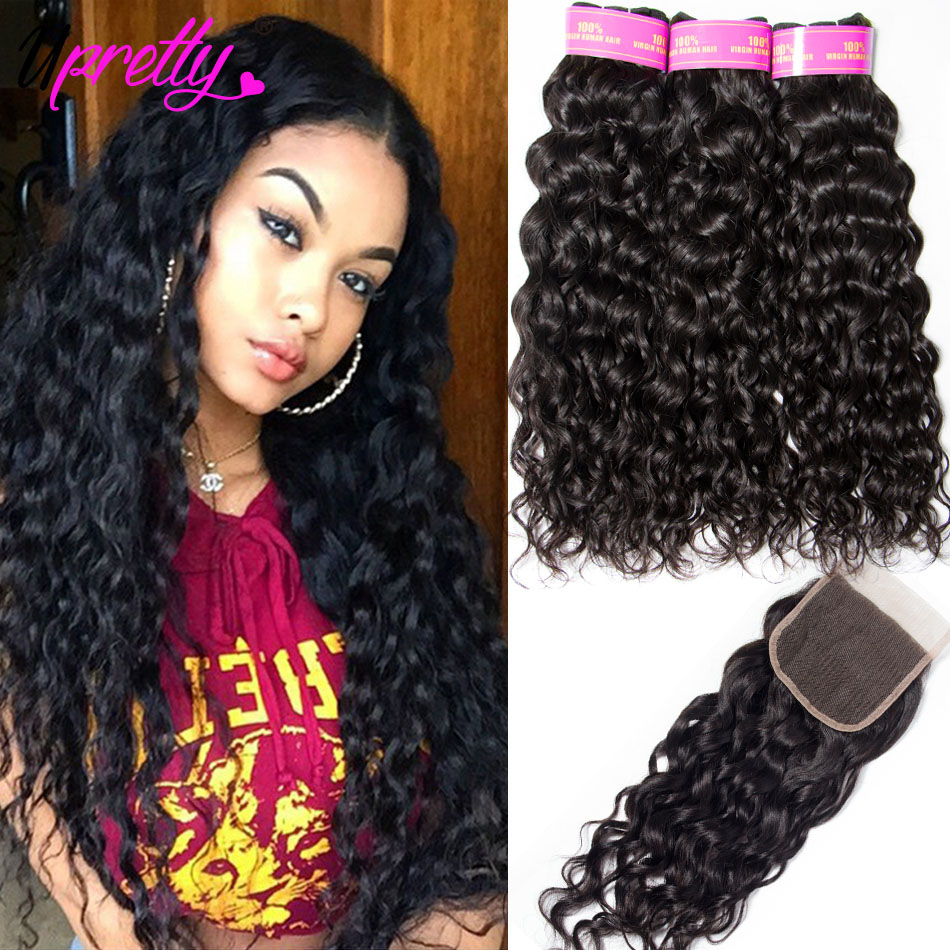 Upretty Hair Water Wave Bundles With Closure Wet And Wavy Human Hair 3 Bundles With Closure Mink Brazilian Hair Weave Bundles ems hips trainer