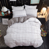 Brief Grey White Plaid Made In China Bedding Set Duvet Cover Set Queen Size, 1 Quilt Cover 1 Bedding Sheet Set 2 Pillowcase