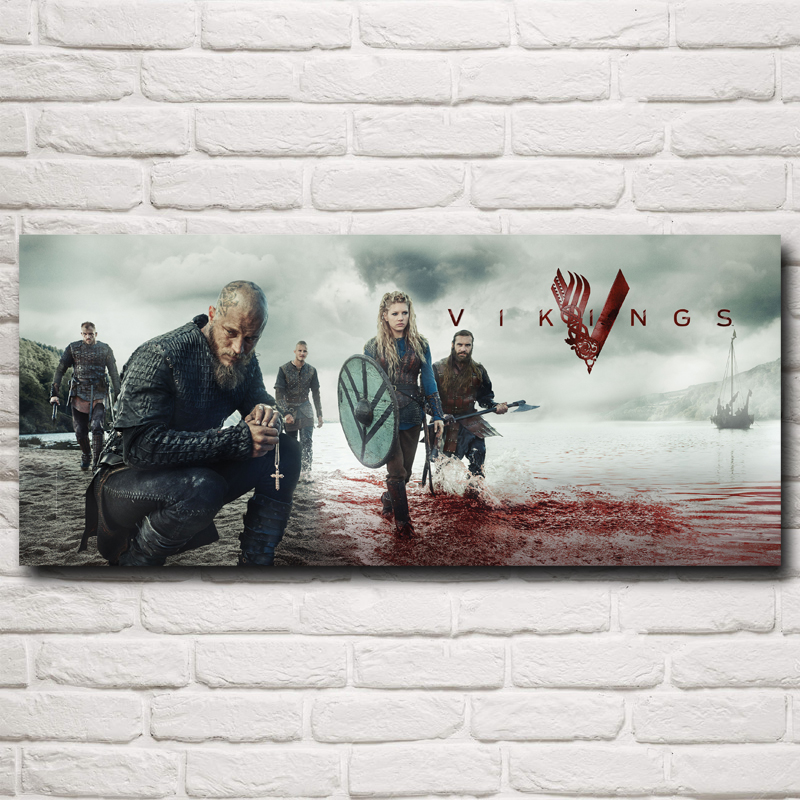 Vikings TV-serie Art Silk Fabric Poster Prints Hem Wall Decor Pictures 10x23 12x28 15x35 20x46 tum Gratis frakt
